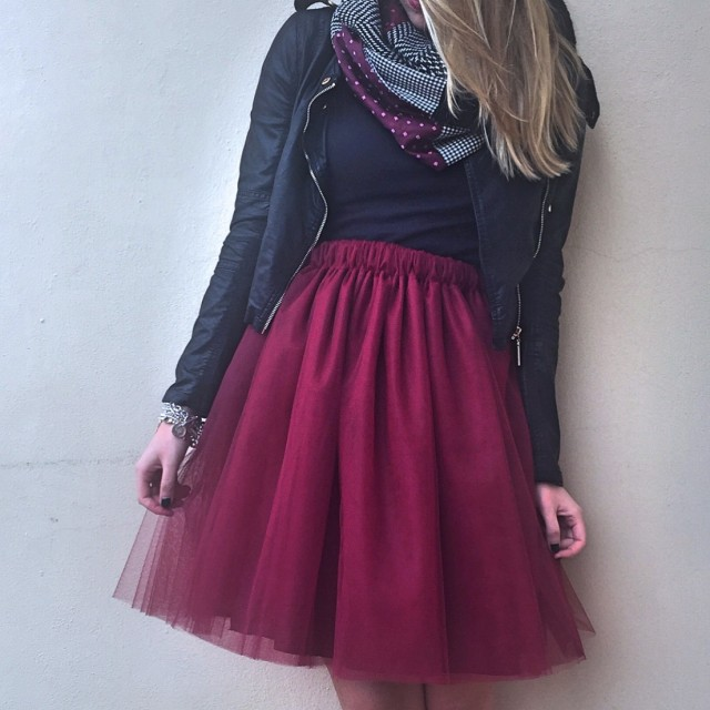 Gonna tulle bordeaux